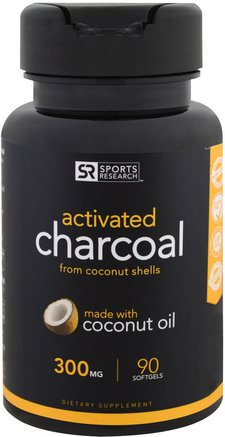 Activated Charcoal From Coconut Shells, 300 mg, 90 Softgels by Sports Research-Kosttillskott, Mineraler, Aktivt Kol