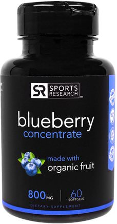 Blueberry Concentrate, 800 mg, 60 Softgels by Sports Research-Örter, Blåbär