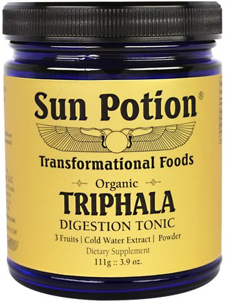Triphala Organic Cold Water Extract Powder, 3.9 oz (111 g) by Sun Potion-Hälsa, Detox, Triphala, Matsmältning, Mage