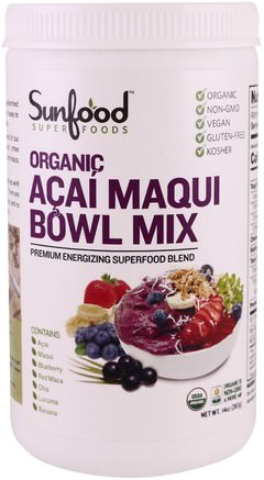 Organic Acai Maqui Bowl Mix, 14 oz (397 g) by Sunfood-Kosttillskott, Super Frukt, Acai Berry Juice Extrakt
