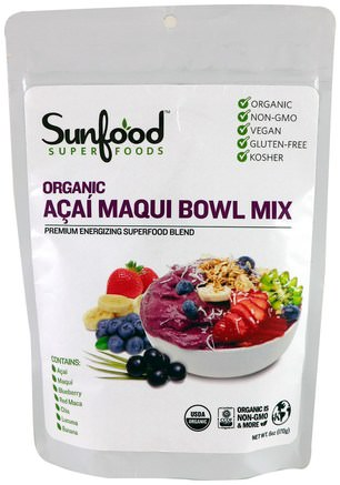 Organic Acai Maqui Bowl Mix, 6 oz (170 g) by Sunfood-Kosttillskott, Super Frukt, Acai Berry Juice Extrakt