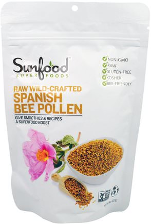 Raw Wild-Crafted Spanish Bee Pollen, 8 oz (227 g) by Sunfood-Kosttillskott, Superfoods, Biprodukter, Bipollen