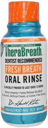 Fresh Breath Oral Rinse, Invigorating Icy Mint Flavor, 3 fl oz (88.7 ml) by TheraBreath-Bad, Skönhet, Oral Tandvård, Munhygienprodukter, Hälsa, Muntorrhet