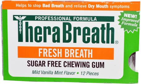 Fresh Breath, Sugar Free Chewing Gum, Mild Vanilla Mint Flavor, 12 Pieces by TheraBreath-Bad, Skönhet, Oral Tandvård, Tandvårdsmynt, Tuggummi, Xylitolgummi Godis