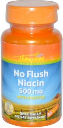 No Flush Niacin, 500 mg, 30 Veggie Caps by Thompson-Vitaminer, Vitamin B, Vitamin B3, Niacin Spolfri