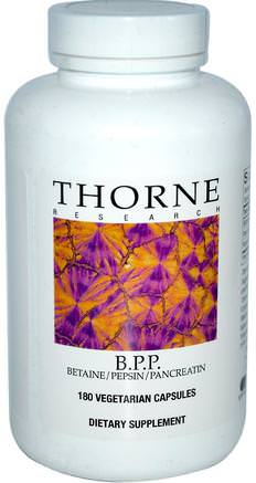 B.P.P., Betaine / Pepsin / Pancreatin, 180 Vegetarian Capsules by Thorne Research-Kosttillskott, Betainhcl, Enzymer, Pankreatin