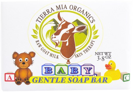 Raw Goat Milk Skin Therapy, Baby, Gentle Soap Bar, 3.8 oz by Tierra Mia Organics-Bad, Skönhet, Tvål, Barnhälsa, Barnbad