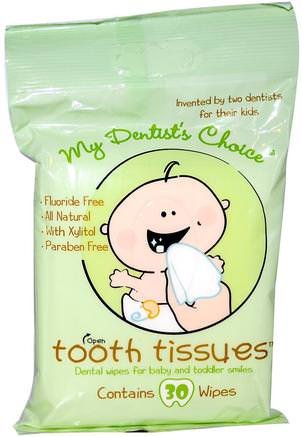 My Dentists Choice, Dental Wipes for Baby and Toddler Smiles, 30 Wipes by Tooth Tissues-Barns Hälsa, Barnomsorg, Tandkräm, Barn Och Barntandkräm