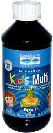 Kids Multi, Citrus Punch, 8 fl oz (237 ml) by Trace Minerals Research-Vitaminer, Multivitaminer, Barn Multivitaminer