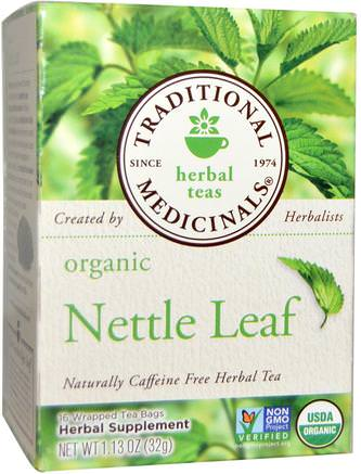 Herbal Teas, Organic Nettle Leaf Herbal Tea, Naturally Caffeine Free, 16 Wrapped Tea Bags, 1.13 oz (32 g) by Traditional Medicinals-Mat, Örtte, Nässlor Stinging