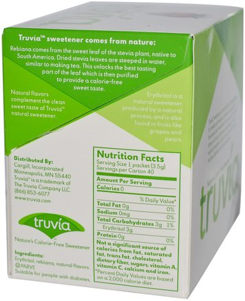 Natures Calorie-Free Sweetener, 40 Packets, 3.5 g Each by Truvia-Mat, Sötningsmedel, Erytritol