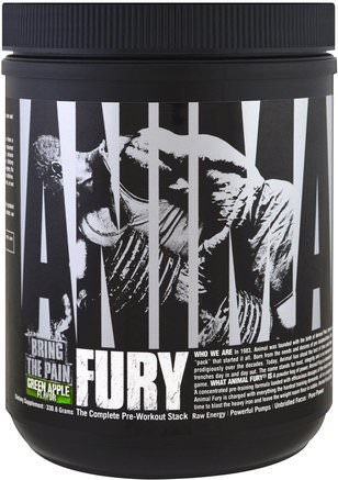 Animal Fury, The Complete Pre-Workout Stack, Green Apple, 330.6 g by Universal Nutrition-Sport, Träning, Muskel