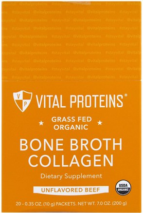 Grass Fed Organic Bone Broth Collagen, Unflavored Beef, 20 Packets, 0.35 oz (10 g) Each by Vital Proteins-Hälsa, Ben, Osteoporos, Kollagen