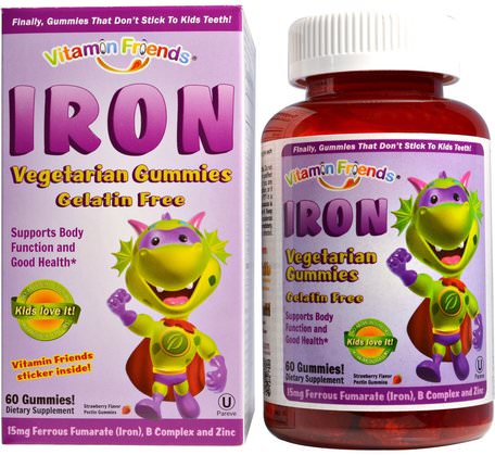 Iron Vegetarian Gummies, Strawberry, 15 mg, 60 Pectin Gummies by Vitamin Friends-Kosttillskott, Mineraler, Järn, Barns Hälsa, Kosttillskott Barn