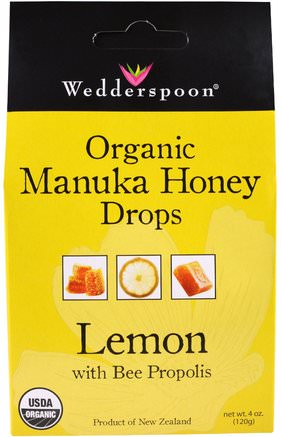 Organic Manuka Honey Drops, Lemon With Bee Propolis, 4 oz (120 g) by Wedderspoon-Hälsa, Lung Och Bronkial, Hosta Droppar