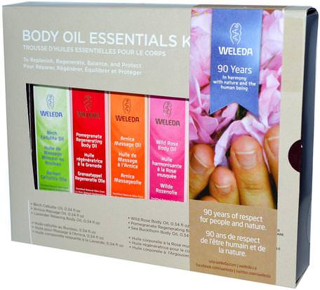 Body Oils, Essential Kit, 6 Oils, (0.34 fl oz Each) by Weleda-Hälsa, Hud, Massageolja