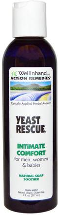 Yeast Rescue, Natural Soap Soother, For Men, Women, and Babies, 6 fl oz (177 ml) by Wellinhand Action Remedies-Hälsa, Candida, Svampjäst, Personlig Hygien
