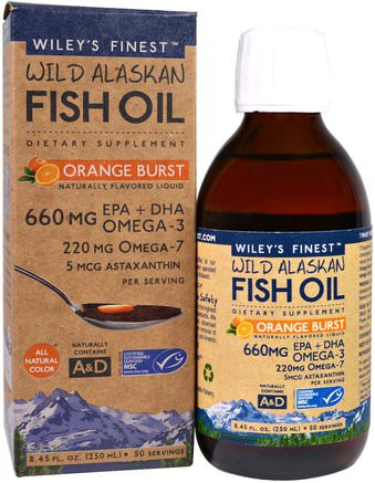 Wild Alaskan Fish Oil, Orange Burst, 660 mg, 8.4 fl oz. (250 ml) by Wileys Finest-Kosttillskott, Efa Omega 3 6 9 (Epa Dha), Flytande Fiskolja