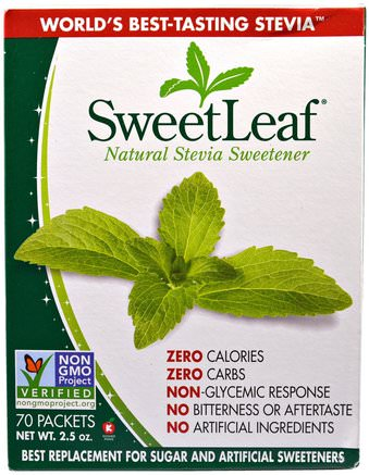 SweetLeaf, Natural Stevia Sweetner, 70 Packets by Wisdom Natural-Mat, Sötningsmedel, Stevia-Paket