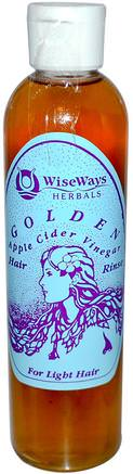Golden, Apple Cider Vinegar Hair Rinse, 8 fl oz by WiseWays Herbals-Kosttillskott, Äppelcidervinäger, Hår, Hårbotten