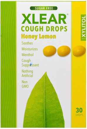 Xylitol, Cough Drops, Sugar Free, Honey Lemon, 30 Drops by Xlear-Hälsa, Lung Och Bronkial, Hosta Droppar