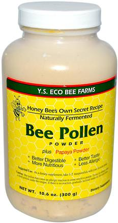 Bee Pollen Powder, Plus Papaya Powder, 10.6 oz (300 g) by Y.S. Eco Bee Farms-Kosttillskott, Biprodukter, Bipollen