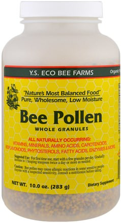 Bee Pollen Whole Granules, 10.0 oz (283 g) by Y.S. Eco Bee Farms-Kosttillskott, Biprodukter, Bipollen