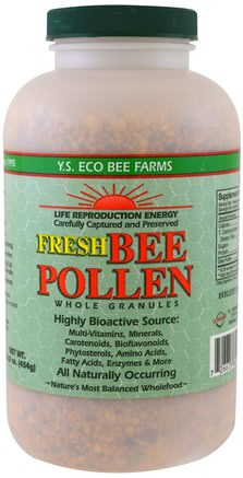 Fresh Bee Pollen Whole Granules, 16.0 oz (454 g) by Y.S. Eco Bee Farms-Iskylda Produkter, Tillskott, Bipollen