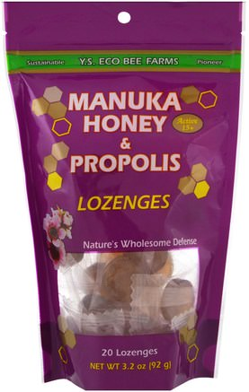 Manuka Honey & Propolis Lozenges, 20 Lozenges, 3.2 oz (92 g) by Y.S. Eco Bee Farms-Kosttillskott, Biprodukter