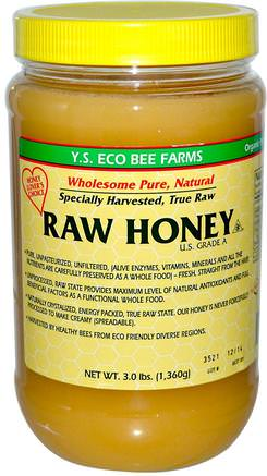 Raw Honey, 3.0 lbs (1.360 g) by Y.S. Eco Bee Farms-Mat, Sötningsmedel, Honung