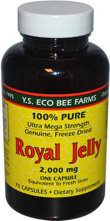 Royal Jelly, 100% Pure, 2.000 mg, 75 Capsules by Y.S. Eco Bee Farms-Kosttillskott, Biprodukter, Royal Gelé