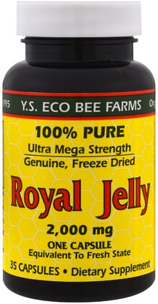Royal Jelly, 2.000 mg, 35 Capsules by Y.S. Eco Bee Farms-Kosttillskott, Biprodukter, Royal Gelé
