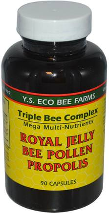 Royal Jelly, Bee Pollen, Propolis, 90 Capsules by Y.S. Eco Bee Farms-Kosttillskott, Biprodukter, Royal Gelé