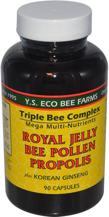 Royal Jelly, Bee Pollen, Propolis, Plus Korean Ginseng, 90 Capsules by Y.S. Eco Bee Farms-Kosttillskott, Adaptogen, Biprodukter, Royal Gelé