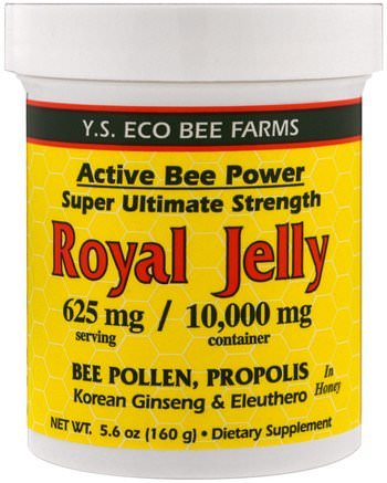 Royal Jelly In Honey, 625 mg, 5.6 oz (160 g) by Y.S. Eco Bee Farms-Kosttillskott, Biprodukter, Royal Gelé, Mat, Sötningsmedel