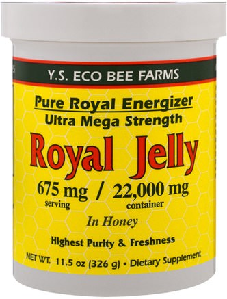 Royal Jelly In Honey, 675 mg, 11.5 oz (326 g) by Y.S. Eco Bee Farms-Kosttillskott, Biprodukter, Royal Gelé, Mat, Sötningsmedel