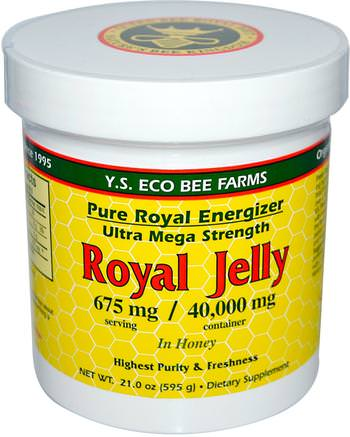 Royal Jelly, in Honey, 675 mg, 21.0 oz (595 g) by Y.S. Eco Bee Farms-Kosttillskott, Biprodukter, Royal Gelé, Mat, Sötningsmedel