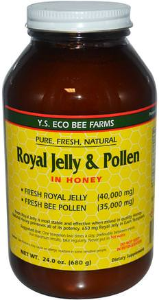 Royal Jelly & Pollen, in Honey, 24 oz (680 g) by Y.S. Eco Bee Farms-Kosttillskott, Biprodukter, Royal Gelé, Mat, Sötningsmedel
