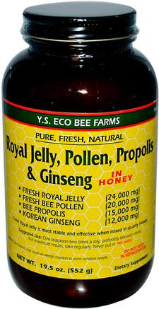 Royal Jelly, Pollen, Propolis & Ginseng in Honey, 19.5 oz (552 g) by Y.S. Eco Bee Farms-Kosttillskott, Adaptogen, Biprodukter, Bipollen