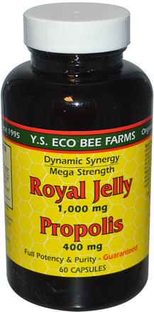 Royal Jelly, Propolis, 1.000 mg/400 mg, 60 Capsules by Y.S. Eco Bee Farms-Kosttillskott, Biprodukter, Royal Gelé, Bi Propolis