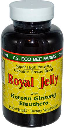 Royal Jelly, with Korean Ginseng Eleuthero, 65 Capsules by Y.S. Eco Bee Farms-Kosttillskott, Adaptogen, Biprodukter, Royal Gelé