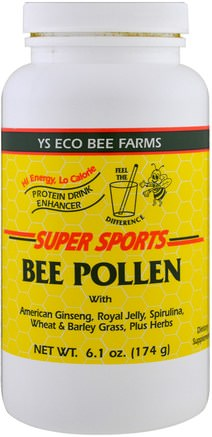 Super Sports, Bee Pollen, Protein Drink Enhancer, 6.1 oz (174 g) by Y.S. Eco Bee Farms-Kosttillskott, Biprodukter, Bipollen