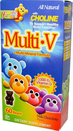 MultiV + Multi-Mineral Formula, Milk Chocolate Flavor, 60 Bears by Yum-Vs-Vitaminer, Multivitaminer, Multivitamingummier, Barnhälsa, Barngummier