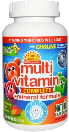 Multi Vitamin Complete + Mineral Formula, Delicious Fruit Flavors, 120 Jelly Bears by Yum-Vs-Vitaminer, Multivitaminer, Multivitamingummier, Barn Multivitaminer