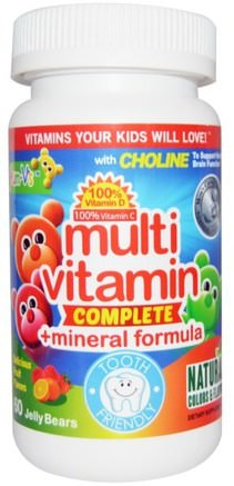 Multivitamin Complete + Mineral Formula, Fruit Flavors, 60 Jelly Bears by Yum-Vs-Vitaminer, Multivitaminer, Multivitamingummier, Barnhälsa, Barngummier