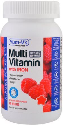 Multivitamin with Iron, Delicious Berry Flavors, 60 Jellies by Yum-Vs-Vitaminer, Multivitaminer, Multivitamingummier