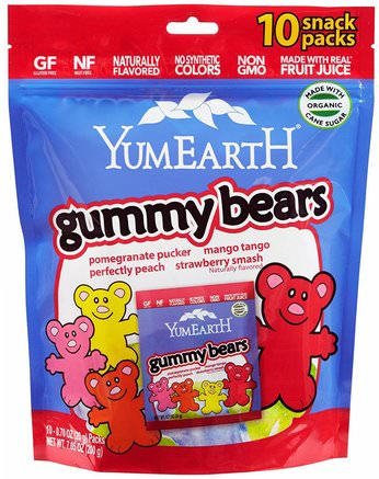 Gummy Bears, Assorted Flavors, 10 Snack Packs, 25.5 g Each by YumEarth-Mat, Mellanmål, Godis