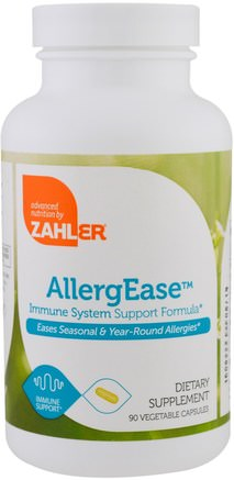 AllergEase, Immune System Support Formula, 90 Vegetable Capsules by Zahler-Kosttillskott, Hälsa, Allergier