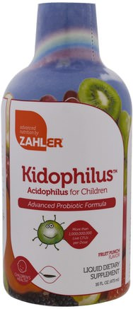 Kidophilus, Acidophilus for Children, Fruit Punch, 16 fl oz (473 ml) by Zahler-Kosttillskott, Barns Hälsa