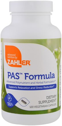 PAS Formula, Advanced Polynutrient and Herbal Formulation, 120 Vegetarian Capsules by Zahler-Hälsa, Anti Stress, Vitaminer